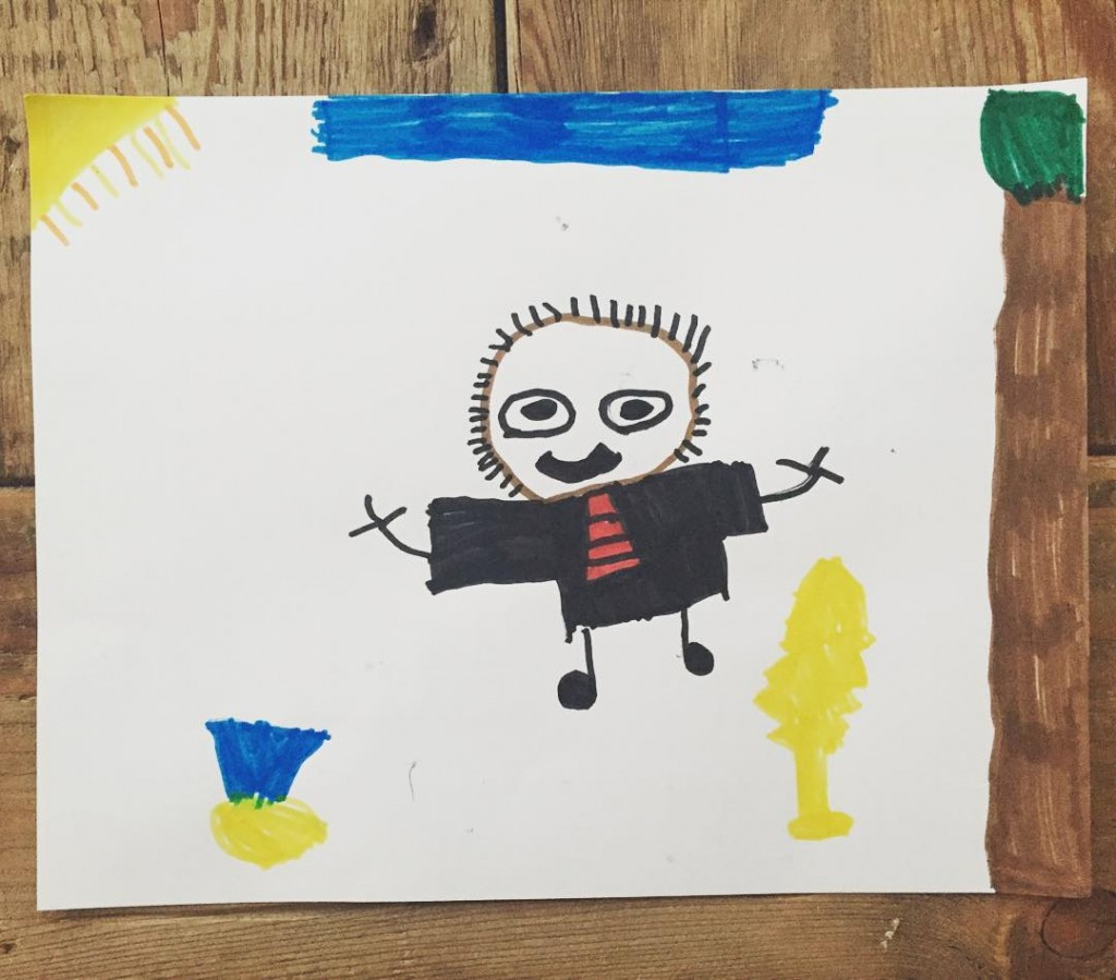 """I've thoroughly enjoyed all the facts and drawings of """"Marfin Lufer King, Jr."""" that Miles has been sharing with me all week. #mlk #martinlutherking #kidsart #marker #5yearsold"""